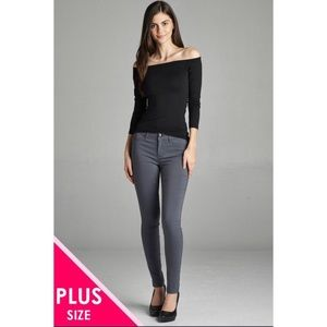 Charcoal stretch faux pocket skinny pant